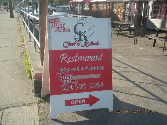 Chef's Kebab: exterior stand sign
