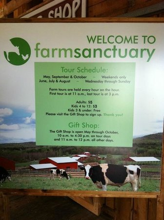 Farm Sanctuary:                   Tour info