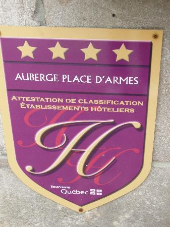 Auberge Place D'Armes: Classified as a 4-star hotel by Quebec