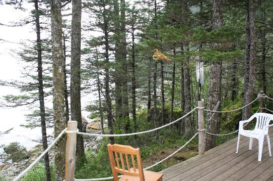 Kayakers Cove: The deck of the kitchen cabin