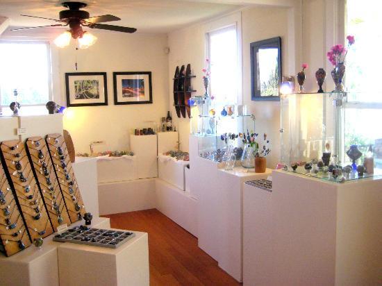 Liquid Light Glassworks: interior of gallery and studio