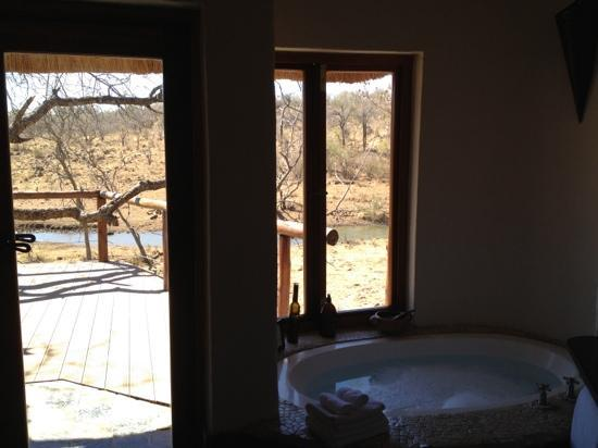 Royal Madikwe Luxury Safari Lodge: The view from the luxurious bathroom!