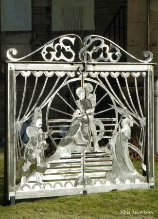 Stirling Smith Art Gallery & Museum: These gates were designed with a Gilbert and Sullivan Theme