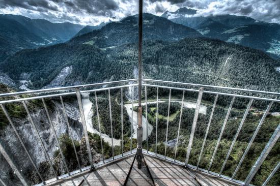Flims, Swiss: Il Spir - Hier die Sicht auf die Rheinschlucht