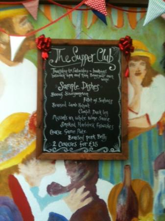 The Supper Club: Sample Menu (changes daily)
