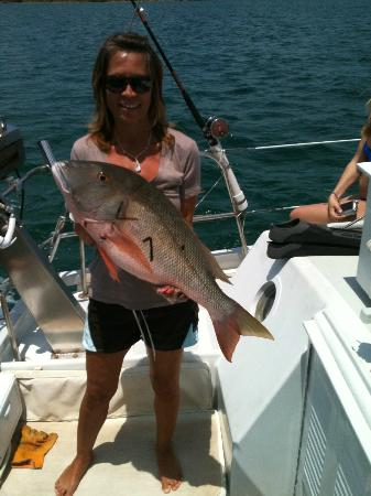 Sail to Bahamas Day Charter : Danni Catching a big Snapper so good