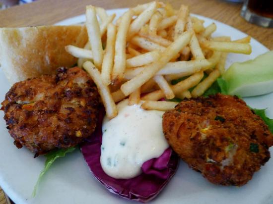 Salmon Cakes With Fries Picture Of Jamesport Country