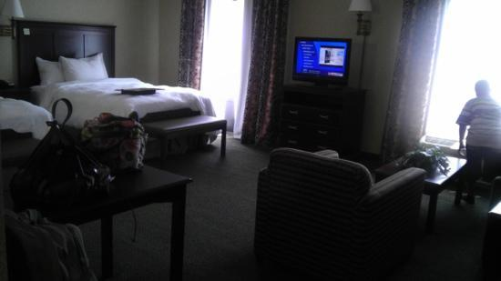 Hampton Inn & Suites Toledo-Perrysburg: view of the room with sitting area, tv, and desk