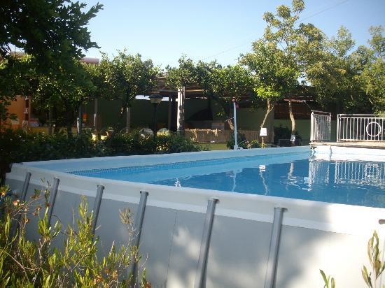 Camping Spartacus: Vista della piscina e del pergolato del ristorante