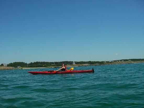 Lower L'Ardoise, Canada: View of Point Michaud beach from kayak at sea