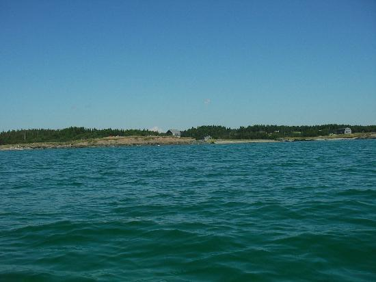 Lower L'Ardoise, Canada: View of beach house and owner's house from a sea kayak out in front