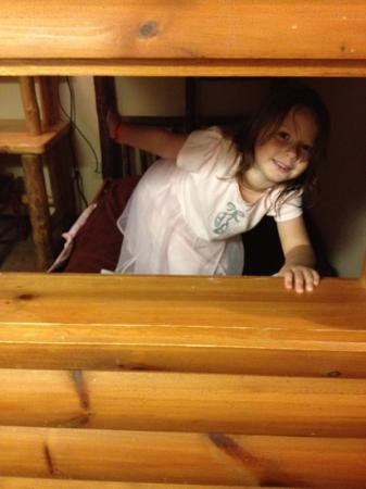 "Great Wolf Lodge: Peaking out the ""cabin"" window."
