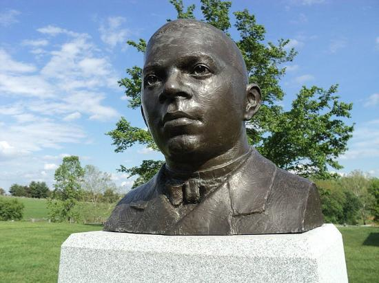 Booker T. Washington National Monument: A Bust of Booker T. Washington, founder of Tuskegee