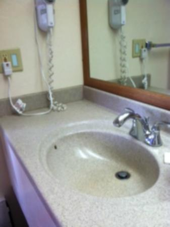 Motel 6 Fort Bragg: corian sink - warn and yellowing