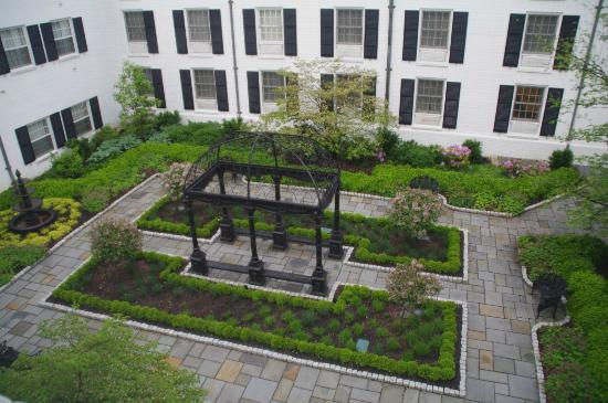 """Nittany Lion Inn : view into the """"English Garden"""""""