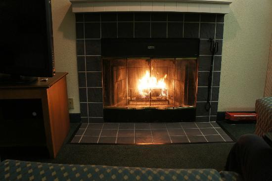 Residence Inn Portland Downtown/Convention Center: Warming by the fire :)