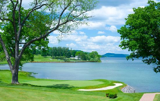 The Otesaga Resort Hotel: The view of Lake Otsego & our Leatherstocking Golf Course from The Hotel Veranda