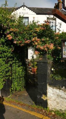 St. Vincent House : Honeysuckle over the entrance gate (Aug)