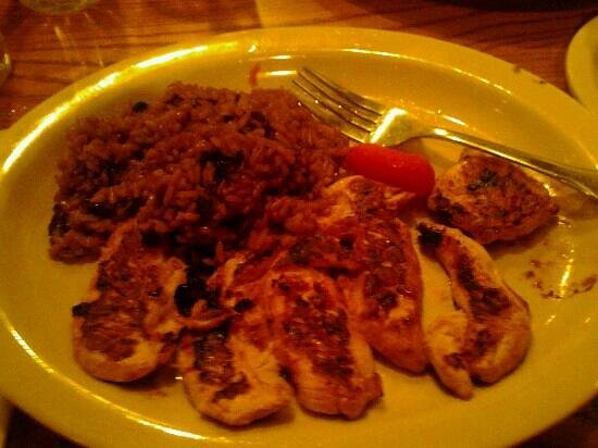 Cracker Barrel: chix tenders grilled with brown rice and mushrooms
