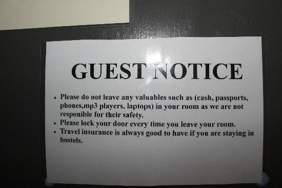 The Grapevine Seafront : Reminding people to lock door and not leave valuables. Wonder what happened to cause this huge s