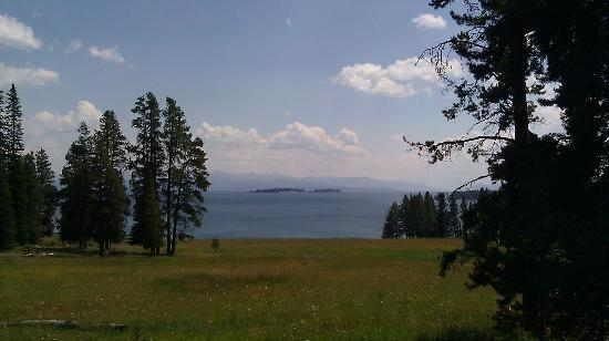 Bridge Bay Campground: View of Lake Yellowstone from the entrance to Loops E and F