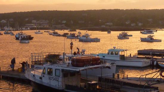 A vew of Southwest Harbor at dusk from Beal's Lobster Pier