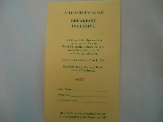 Hilton Orlando Buena Vista Palace Disney Springs: Breakfast voucher