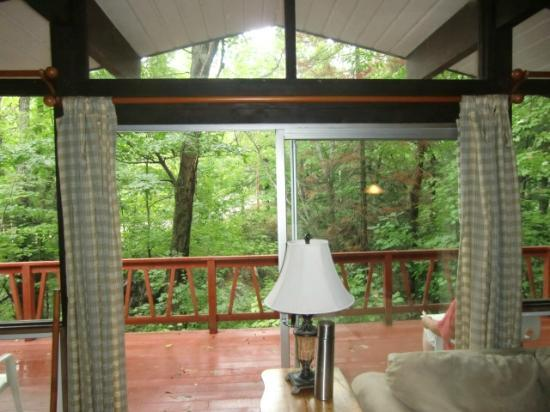 Trillium Resort and Spa: Opening to deck with view of the forest
