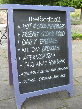 The Tithe Barn, St Marys Church: Board advertising the food offer