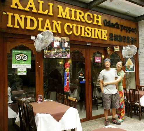 kali mirch(black pepper)indian cuisine : Kali Mirch from outside with the owners B2 & Sammy.