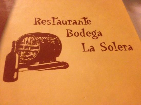 Restaurante La Solera : La carte