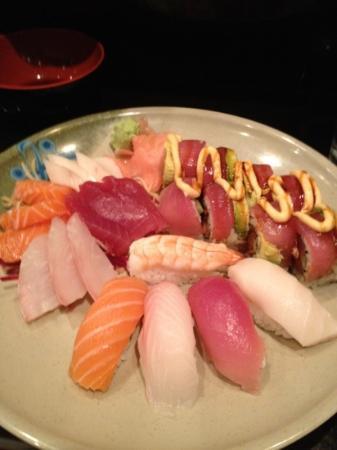 Takosushi: bento box with volcano roll. tasty, except for the horrible concept of Tilapia Nigiri