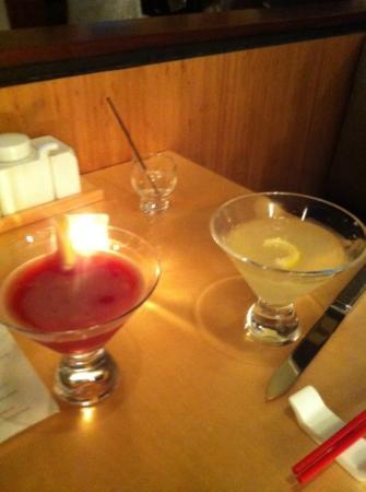 Red Ginger : Blood Orange Martini and Lotus Blossom Martini.