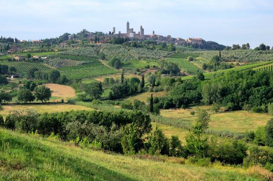 Agriturismo Poggiacolle: Vue sur San Gimignano de l'Agritourisme Poggiacolle