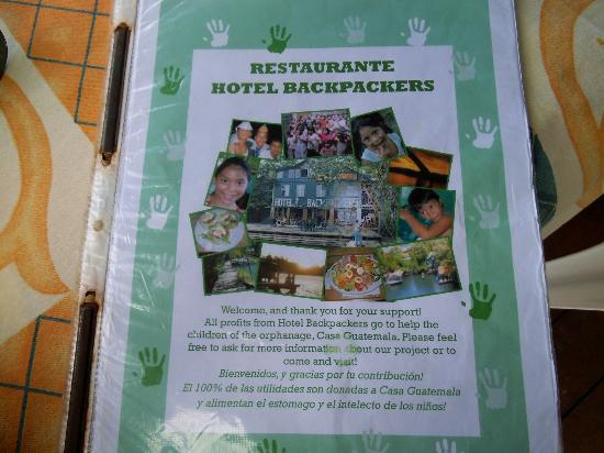 Hotel Backpackers & Restaurant: Menu
