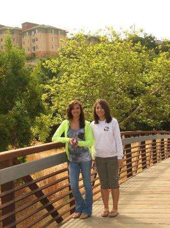 California Polytechnic University Walking Bridge With The Cerro Vista Apartments In Background