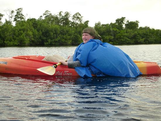 Tour the Glades: my other son - who looks like superman in a dinner lady's hairnet who didn't paddle calmly at al
