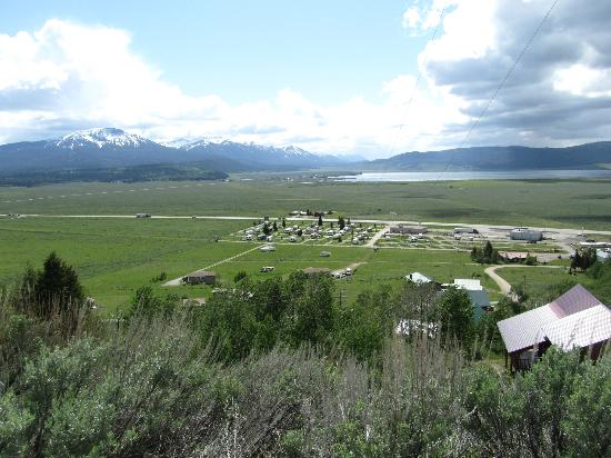 Valley View RV Park Campground: View of the campground from the road up the hill behind it