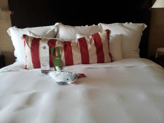 Portola Hotel & Spa at Monterey Bay: Cute shark on the bed
