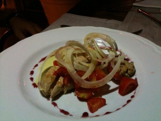 Goffredo Ristorante Osteria in Terrazza : tagliata di tonno pinne gialle farcita con finocchio e pomodorini