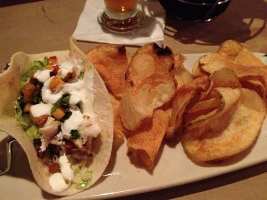 Fish tacos house made chips picture of bonefish grill for Fish bone grill