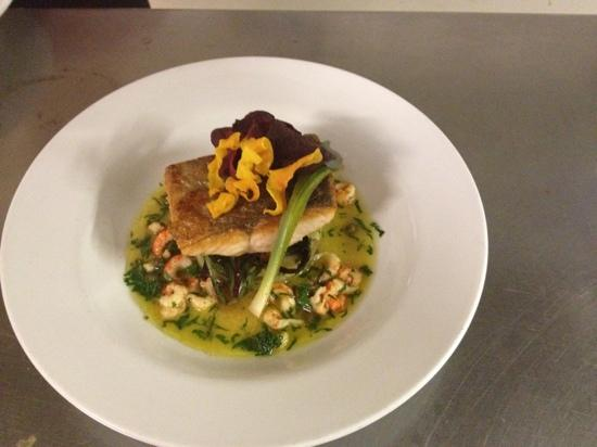 The Bell Inn: river wear salmon with crushed new potato and crayfish fricasse