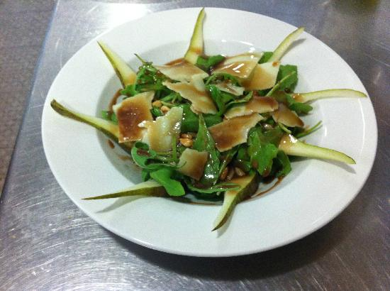 Chiffon Cafe: Rocket Salad with Conference Pear, Sliced Parmeggiano, Dry SunFlower Seeds & Honey Balsamic Dres