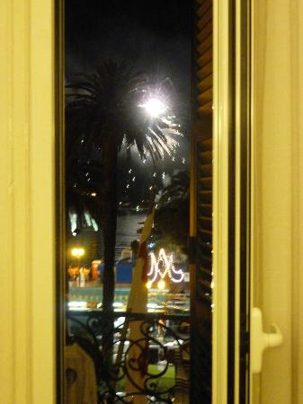 Hotel Astoria: Looking out of balcony door with fireworks in the distance