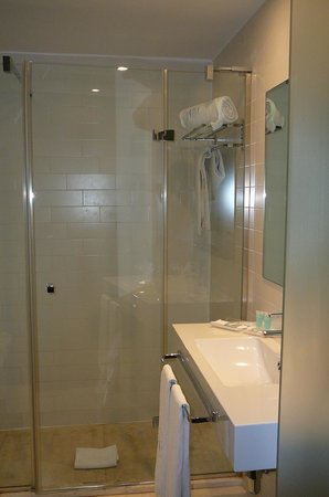 Eurostars Lex: BIG FAT CLASS SHOWER - Bath room has frosted glass sliding doors