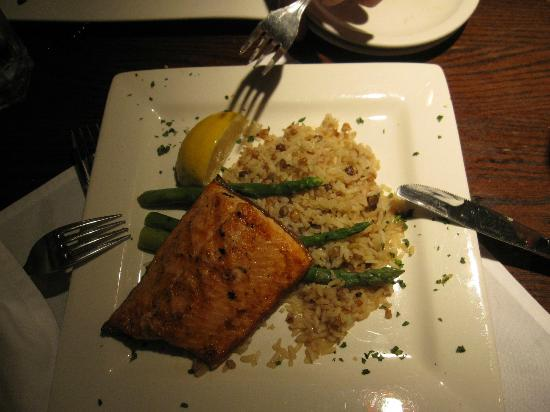the fish house: salmon grilled with rice pilaf