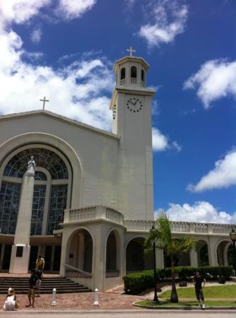 Dulce Nombre de Maria Cathedral Basilica: contrast favorably with blue sky