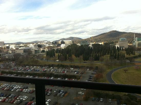 QT Canberra: Outlook from balcony, plenty of sunshine into the room