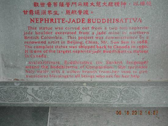 International Buddhist Society (Buddhist Temple): Jade Buddhisattva  of Compassion sign