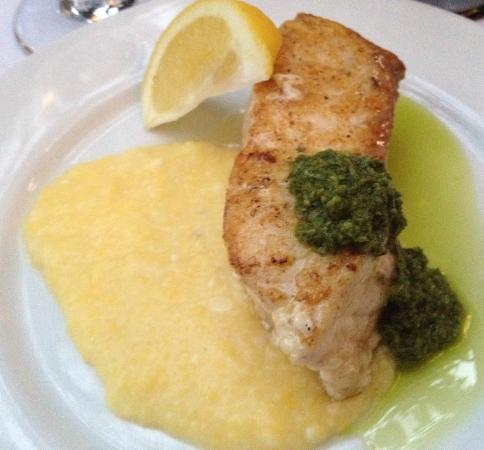 Cucina Biazzi : Incredible fresh sturgeon on a bed of polenta with fresh corn, fresh pesto and evoo